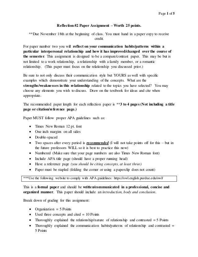 interpersonal communication reflection paper assignment interpersonal communication reflection paper 2 assignment page 1 of 5 reflection 2 paper assignment worth 25 points