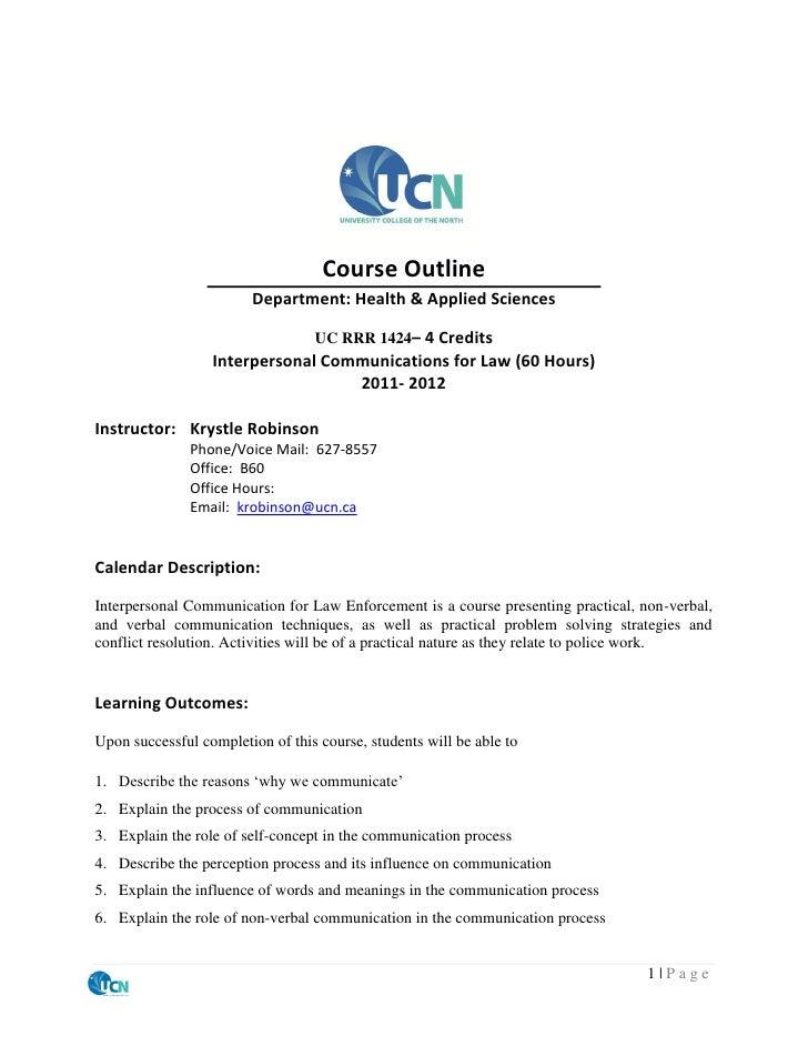 Course Outline                        Department: Health & Applied Sciences                                  UC RRR 1424– ...