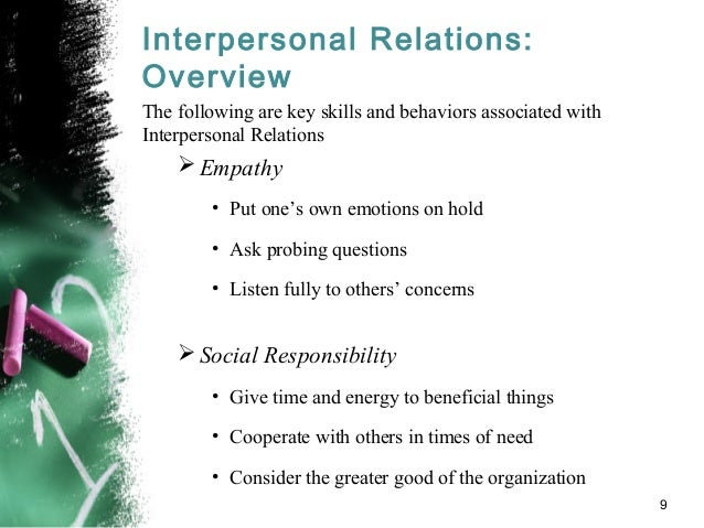 interpersonal relationship in organization Entrepreneurship vision 2020: innovation, development sustainability, and economic growth 589 measuring job satisfaction from the perspective of interpersonal.