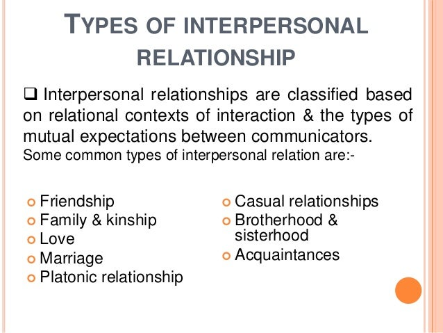 Interpersonal relationship