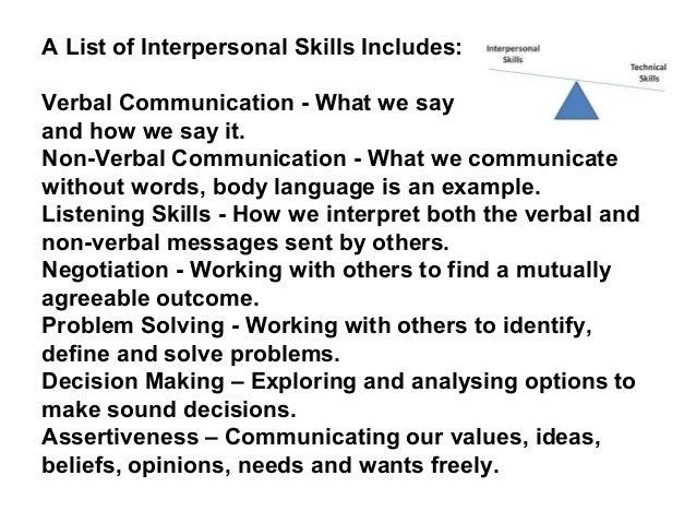 interpersonal skills list