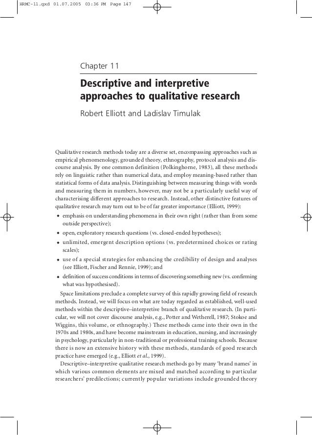 HRMC-11.qxd 01.07.2005 03:36 PM Page 147  Chapter 11  Descriptive and interpretive approaches to qualitative research Robe...