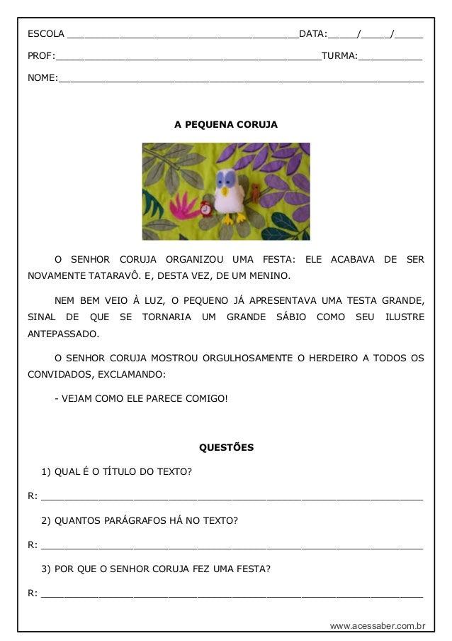 Extremamente Word: Interpretação de texto: A pequena coruja – 2º ou 3º ano – Model… QJ12