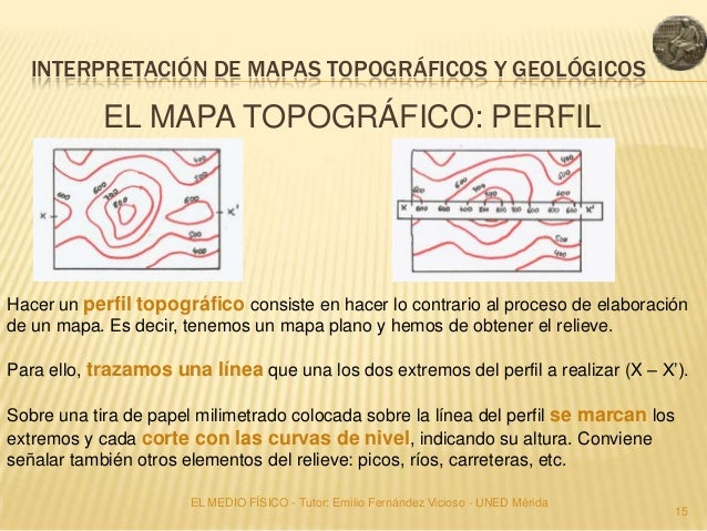 INTERPRETACIÓN DE MAPAS TOPOGRÁFICOS Y GEOLÓGICOS            EL MAPA TOPOGRÁFICO: PERFILHacer un perfil topográfico consis...