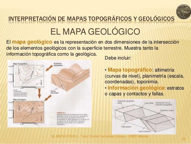 INTERPRETACIÓN DE MAPAS TOPOGRÁFICOS Y GEOLÓGICOS                   EL MAPA GEOLÓGICOEl mapa geológico es la representació...