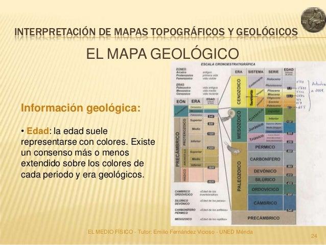 INTERPRETACIÓN DE MAPAS TOPOGRÁFICOS Y GEOLÓGICOS                EL MAPA GEOLÓGICO Información geológica: • Edad: la edad ...