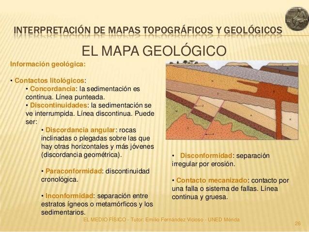 INTERPRETACIÓN DE MAPAS TOPOGRÁFICOS Y GEOLÓGICOS                      EL MAPA GEOLÓGICOInformación geológica:• Contactos ...