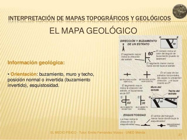 INTERPRETACIÓN DE MAPAS TOPOGRÁFICOS Y GEOLÓGICOS                   EL MAPA GEOLÓGICOInformación geológica:• Orientación: ...