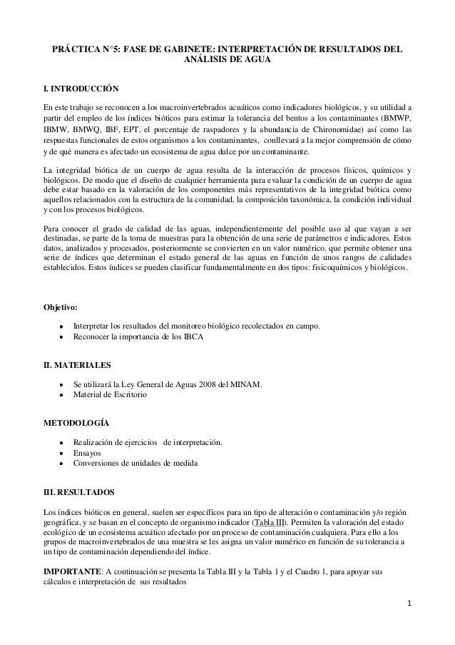 1PRÁCTICA N°5: FASE DE GABINETE: INTERPRETACIÓN DE RESULTADOS DELANÁLISIS DE AGUAI. INTRODUCCIÓNEn este trabajo se reconoc...