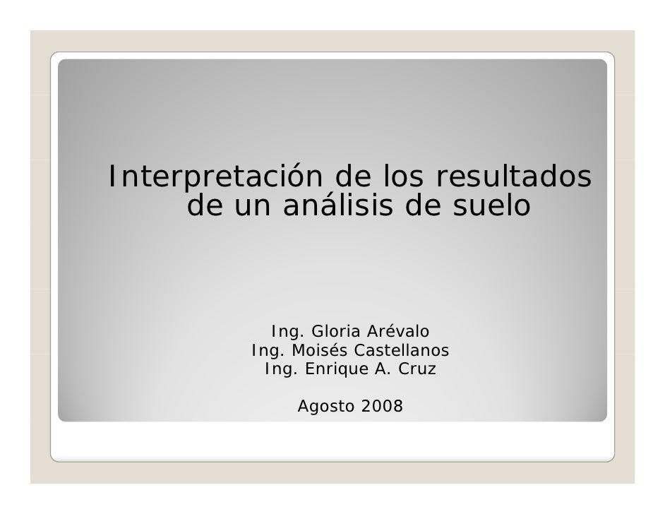 Interpretación de los resultados      de un análisis de suelo                Ing. Gloria Arévalo          Ing. Moisés Cast...