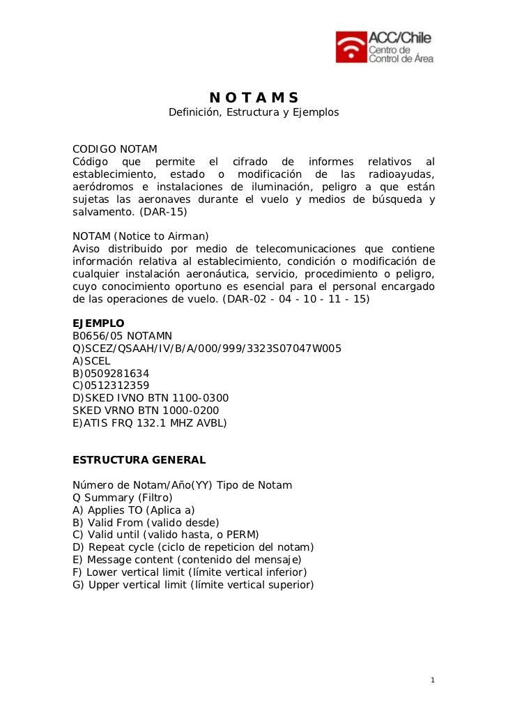 NOTAMS                   Definición, Estructura y EjemplosCODIGO NOTAMCódigo que permite el cifrado de informes relativos ...