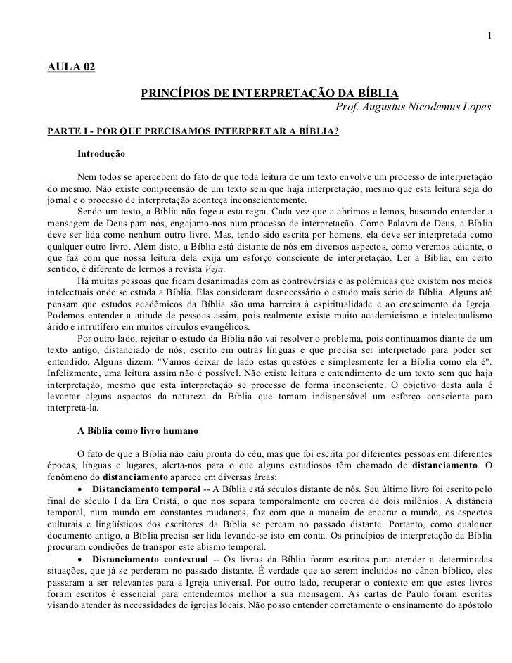 1AULA 02                       PRINCÍPIOS DE INTERPRETAÇÃO DA BÍBLIA                                                  Prof...
