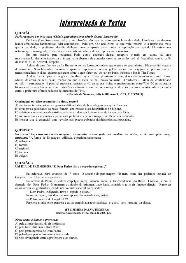 Interpretação de Textos QUESTÃO 1 Paris receptiva e menos cara (Cidade quer abandonar rótulo de mal-humorada) De Paris já ...