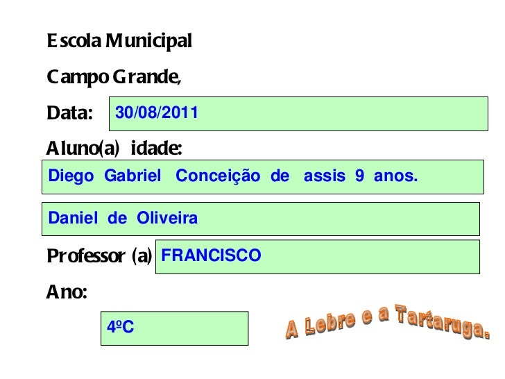Escola Municipal Campo Grande,  Data: Aluno(a)  idade: Professor (a) Ano: A Lebre e a Tartaruga.