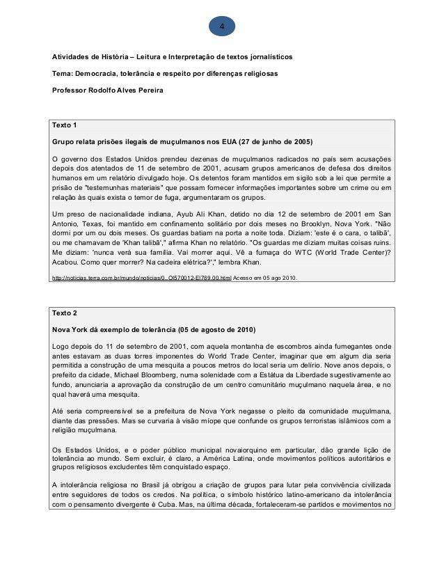 4 Atividades de História – Leitura e Interpretação de textos jornalísticos Tema: Democracia, tolerância e respeito por dif...