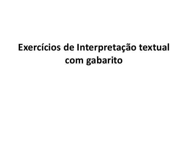 Exercícios de Interpretação textual com gabarito