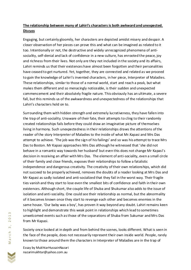 interpreter of maladies relationships essays