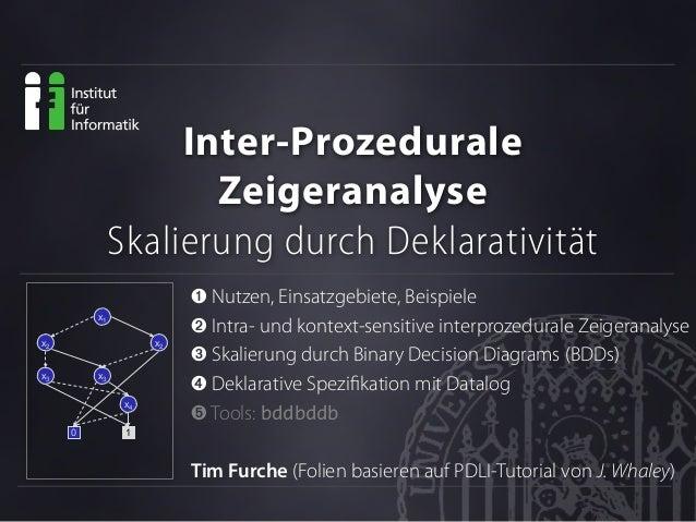 Inter-Prozedurale Zeigeranalyse Skalierung durch Deklarativität ➊ Nutzen, Einsatzgebiete, Beispiele ➋ Intra- und kontext-s...