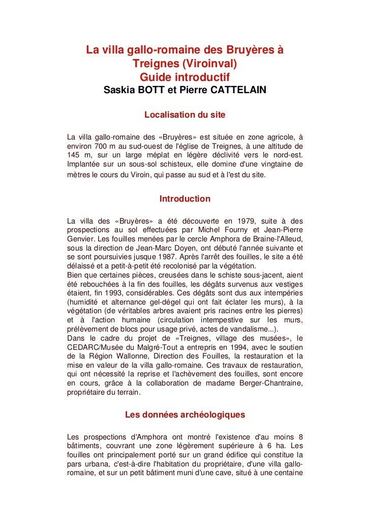 La villa gallo-romaine des Bruyères à               Treignes (Viroinval)                Guide introductif           Saskia...