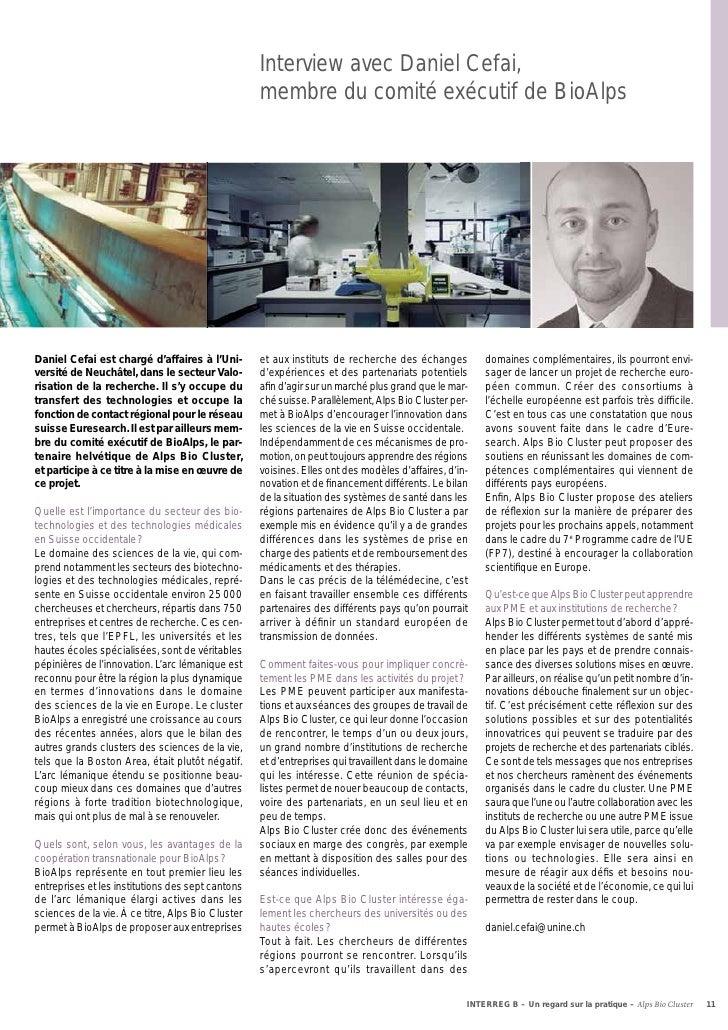Interview avec Daniel Cefai,                                                   membre du comité exécutif de BioAlpsDaniel ...