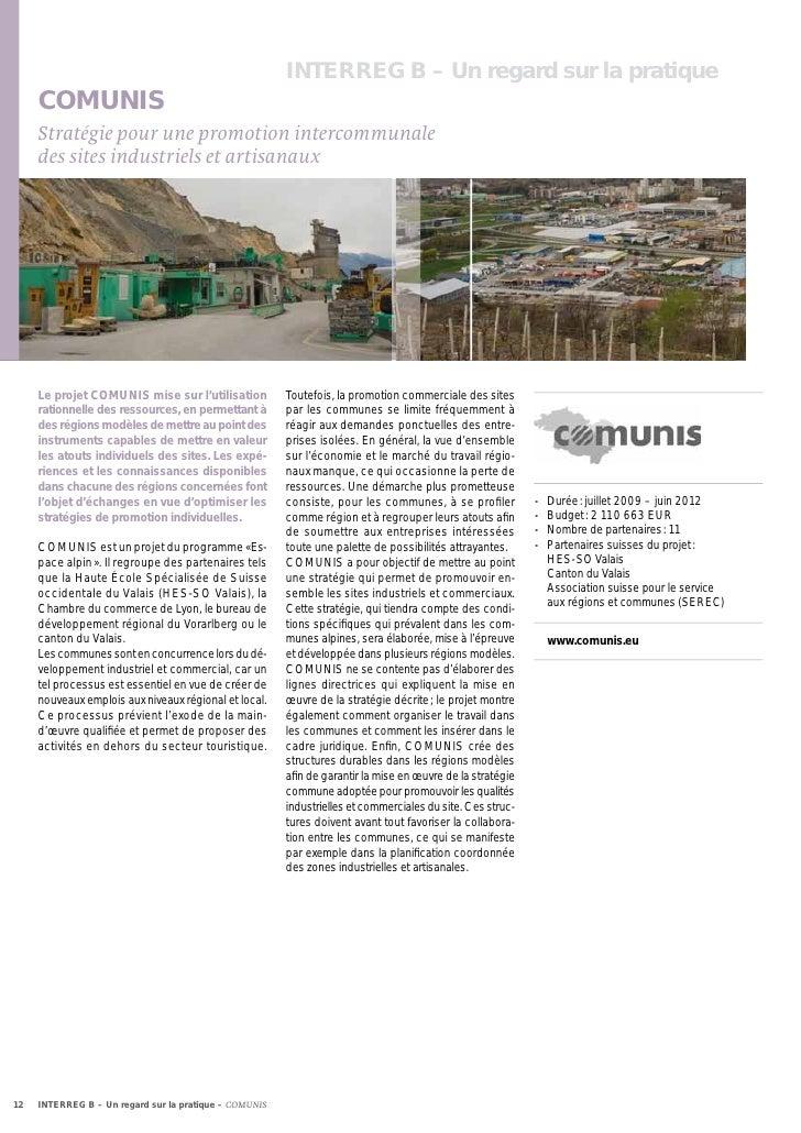 INTERREG B – Un regard sur la pratique     COMUNIS     Stratégie pour une promotion intercommunale     des sites industrie...
