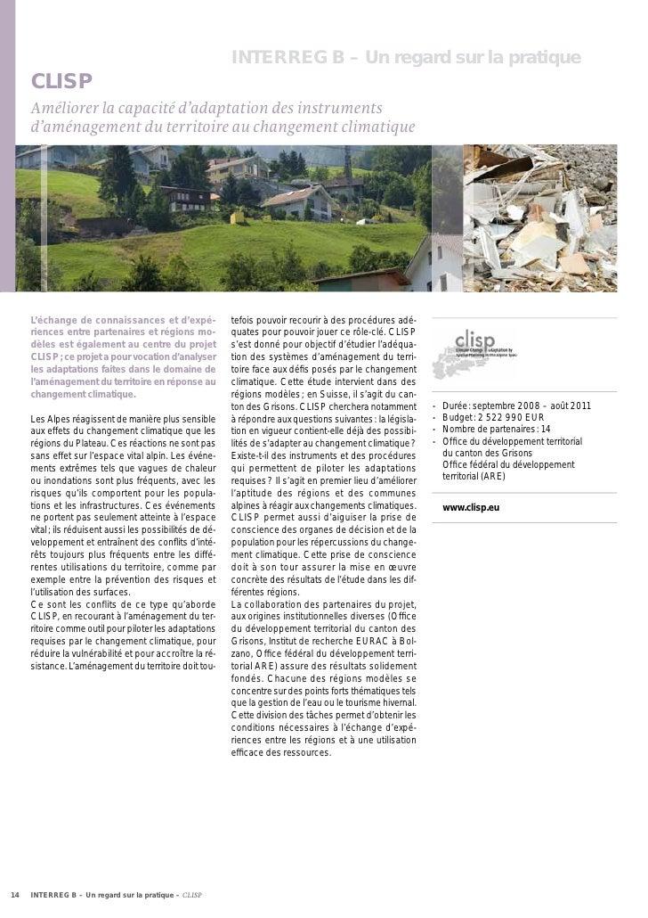 INTERREG B – Un regard sur la pratique     CLISP     Améliorer la capacité d'adaptation des instruments     d'aménagement ...