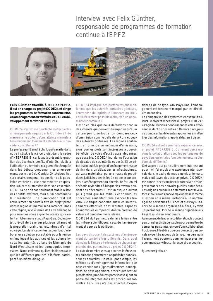 Interview avec Felix Günther,                                                    responsable de programmes de formation   ...