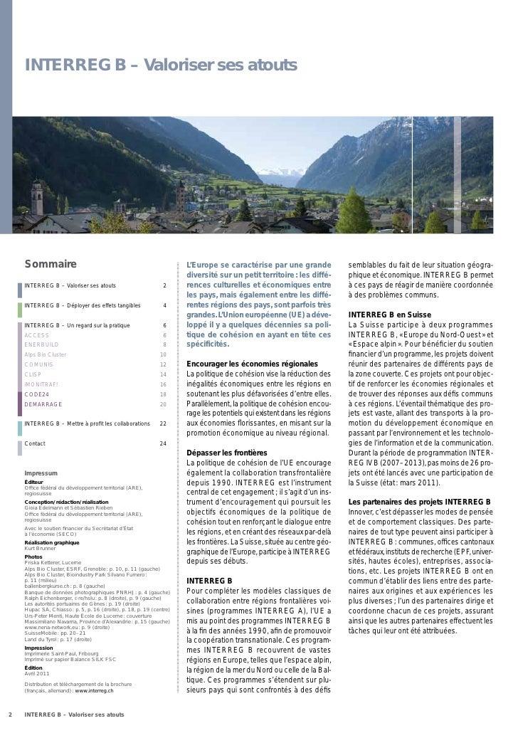 INTERREG B – Valoriser ses atouts    Sommaire                                                          L'Europe se caracté...