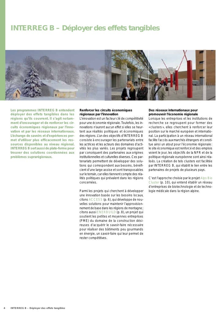 INTERREG B – Déployer des effets tangibles    Les programmes INTERREG B entendent          Renforcer les circuits économiq...