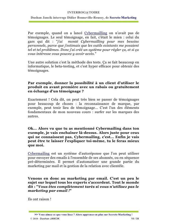 INTERROG@TOIRE Dushan Jancik interroge Didier Bonneville-Roussy, de Secrets-MarketingPar exemple, quand on a lancé Cyberma...