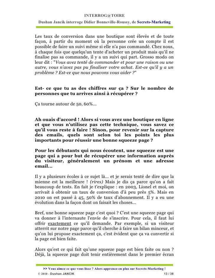 INTERROG@TOIRE Dushan Jancik interroge Didier Bonneville-Roussy, de Secrets-MarketingLes taux de conversion dans une bouti...