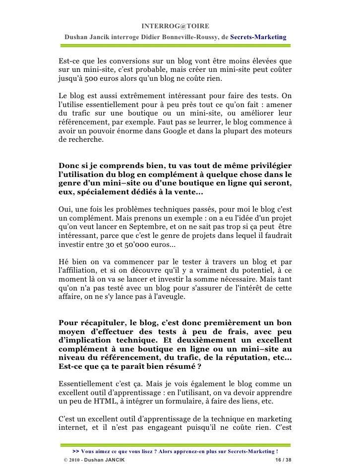 INTERROG@TOIRE Dushan Jancik interroge Didier Bonneville-Roussy, de Secrets-MarketingEst-ce que les conversions sur un blo...