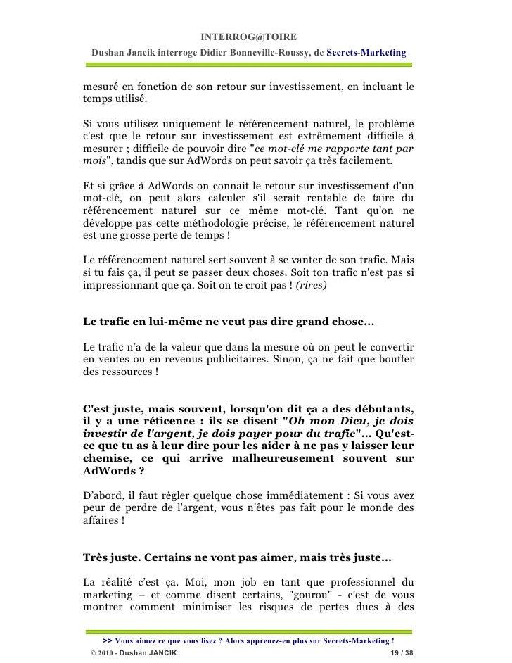INTERROG@TOIRE Dushan Jancik interroge Didier Bonneville-Roussy, de Secrets-Marketingmesuré en fonction de son retour sur ...