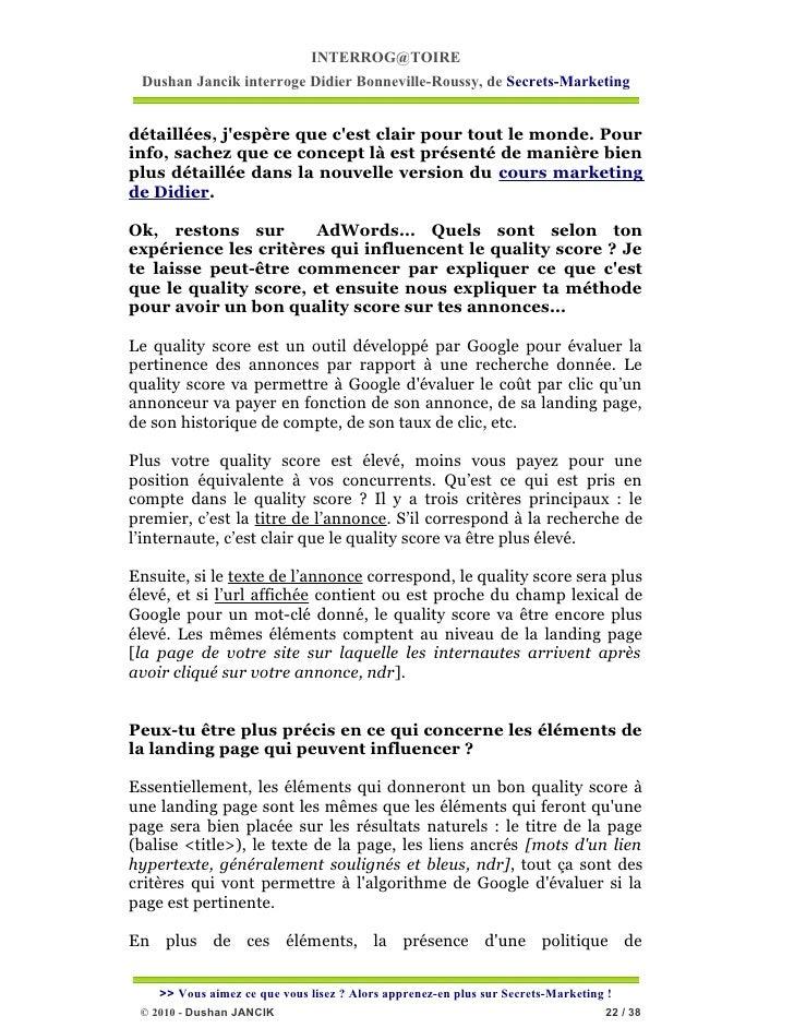 INTERROG@TOIRE Dushan Jancik interroge Didier Bonneville-Roussy, de Secrets-Marketingdétaillées, jespère que cest clair po...