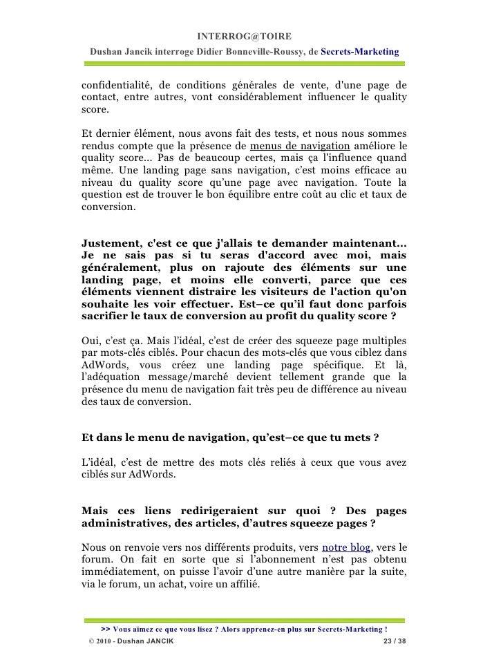 INTERROG@TOIRE Dushan Jancik interroge Didier Bonneville-Roussy, de Secrets-Marketingconfidentialité, de conditions généra...