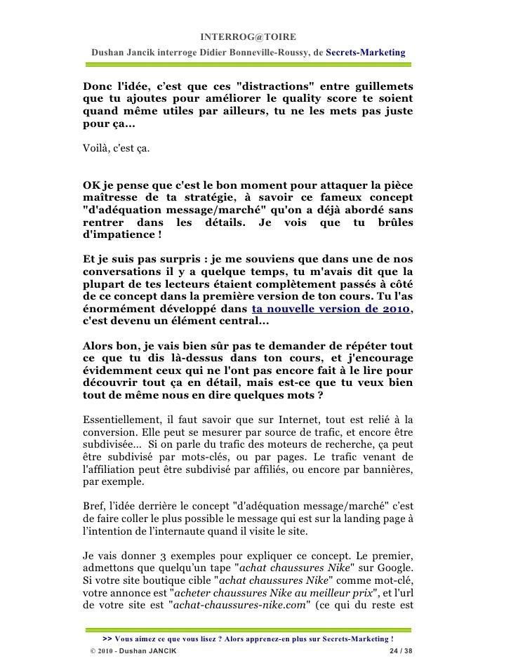"""INTERROG@TOIRE Dushan Jancik interroge Didier Bonneville-Roussy, de Secrets-MarketingDonc lidée, c'est que ces """"distractio..."""