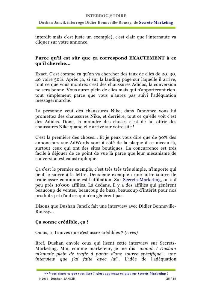 INTERROG@TOIRE Dushan Jancik interroge Didier Bonneville-Roussy, de Secrets-Marketinginterdit mais c'est juste un exemple)...