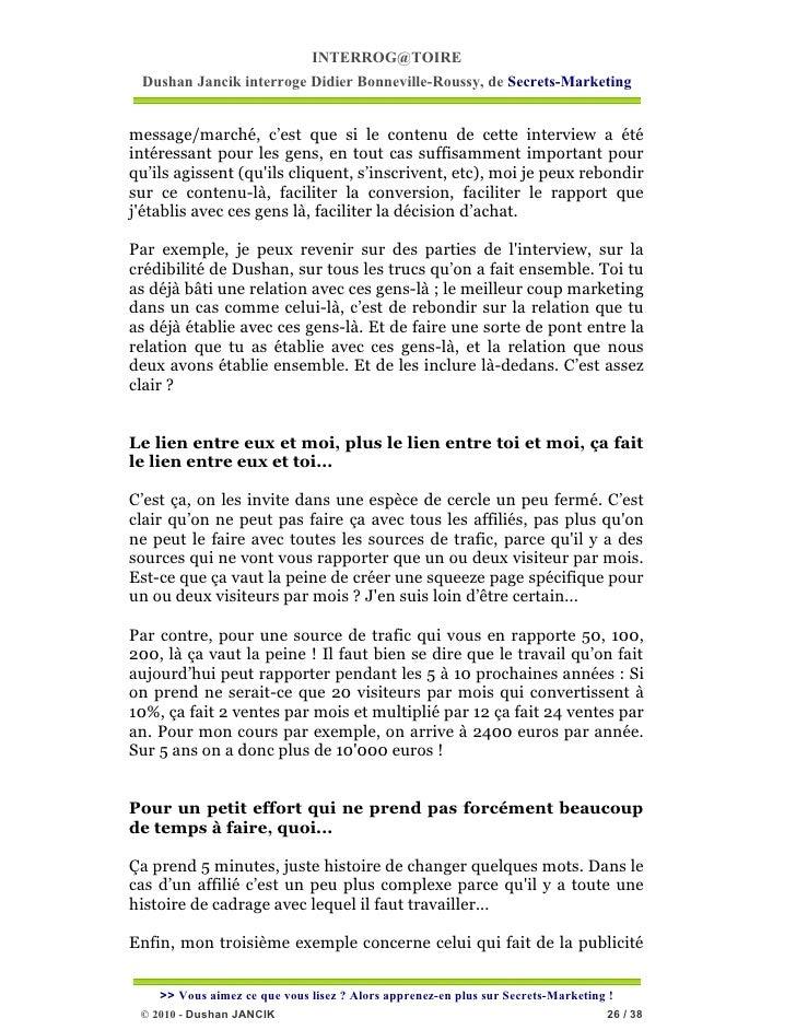 INTERROG@TOIRE Dushan Jancik interroge Didier Bonneville-Roussy, de Secrets-Marketingmessage/marché, c'est que si le conte...