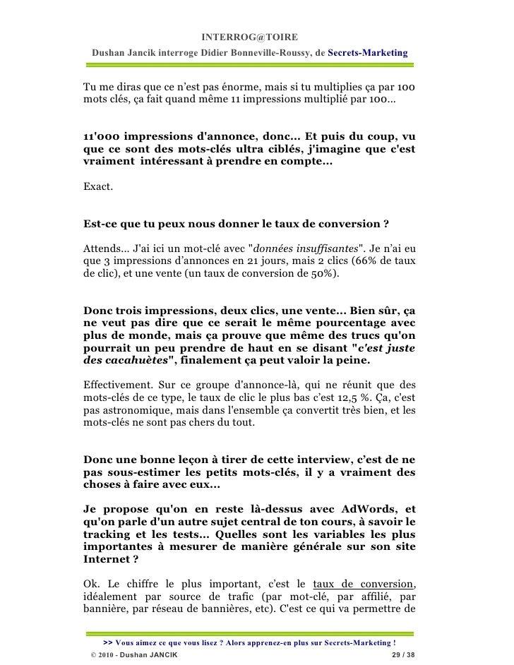 INTERROG@TOIRE Dushan Jancik interroge Didier Bonneville-Roussy, de Secrets-MarketingTu me diras que ce n'est pas énorme, ...