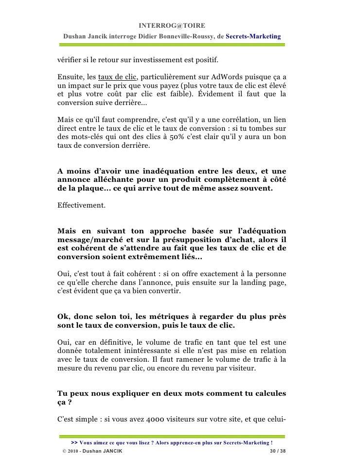 INTERROG@TOIRE Dushan Jancik interroge Didier Bonneville-Roussy, de Secrets-Marketingvérifier si le retour sur investissem...