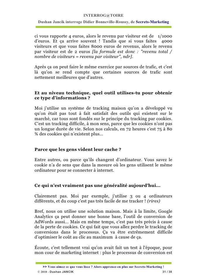 INTERROG@TOIRE Dushan Jancik interroge Didier Bonneville-Roussy, de Secrets-Marketingci vous rapporte 4 euros, alors le re...