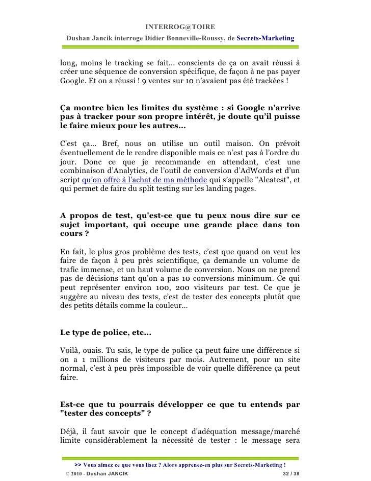 INTERROG@TOIRE Dushan Jancik interroge Didier Bonneville-Roussy, de Secrets-Marketinglong, moins le tracking se fait... co...