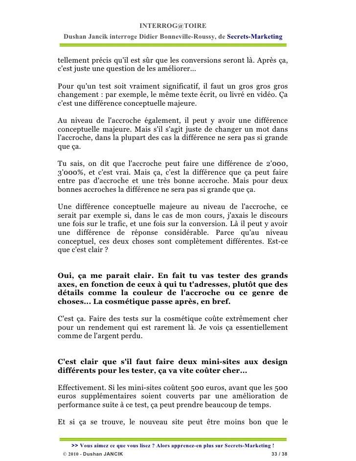INTERROG@TOIRE Dushan Jancik interroge Didier Bonneville-Roussy, de Secrets-Marketingtellement précis quil est sûr que les...