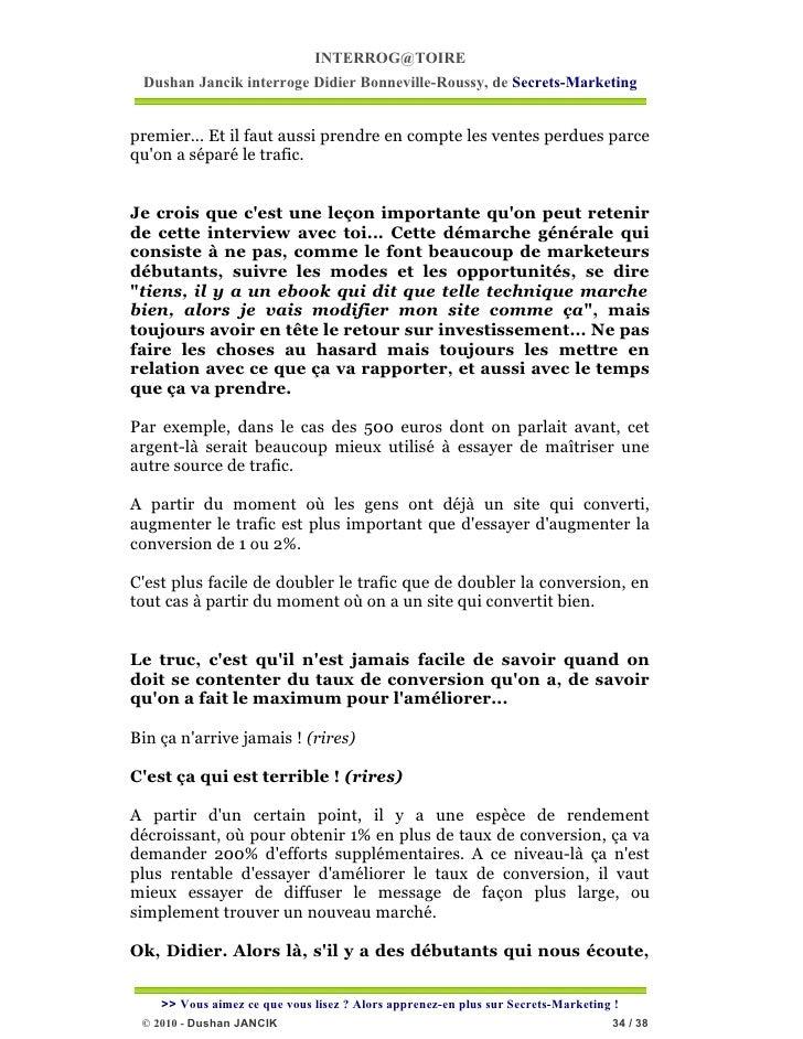 INTERROG@TOIRE Dushan Jancik interroge Didier Bonneville-Roussy, de Secrets-Marketingpremier... Et il faut aussi prendre e...