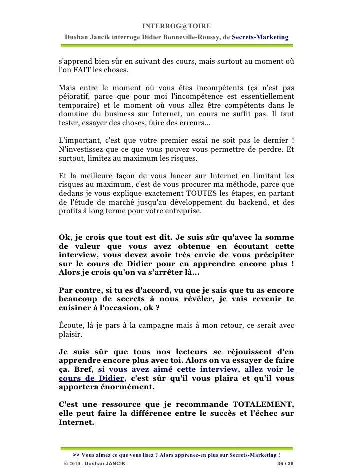INTERROG@TOIRE Dushan Jancik interroge Didier Bonneville-Roussy, de Secrets-Marketingsapprend bien sûr en suivant des cour...