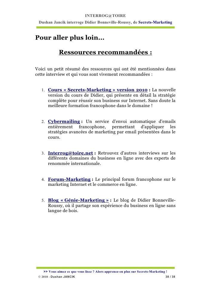 INTERROG@TOIRE Dushan Jancik interroge Didier Bonneville-Roussy, de Secrets-MarketingPour aller plus loin...             R...