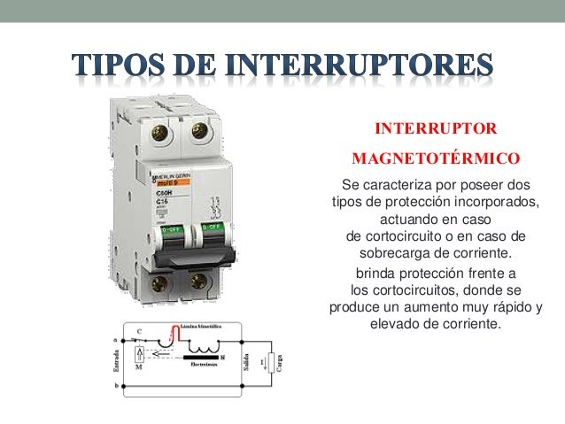 Interruptores electricos for Interruptor magnetotermico tipos