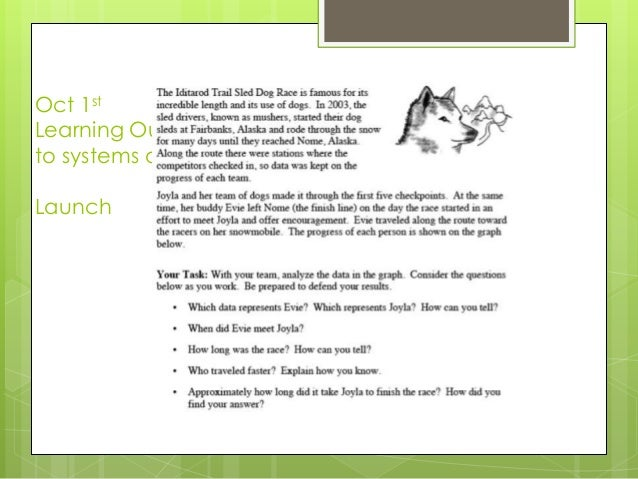 Oct 1st Learning Outcome: To determine the solutions to systems of linear equations. Launch