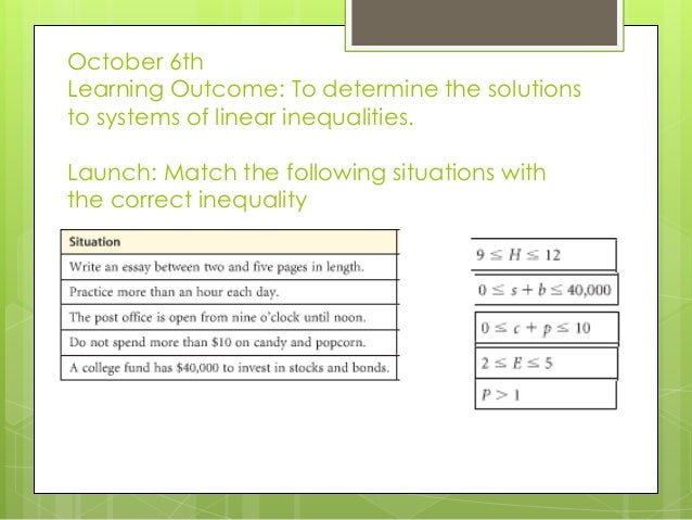 October 6th Learning Outcome: To determine the solutions to systems of linear inequalities. Launch: Match the following si...