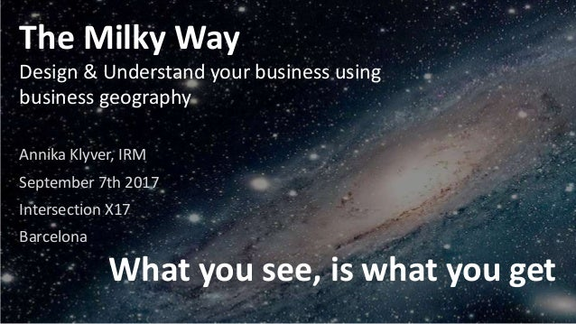 The Milky Way Design & Understand your business using business geography Annika Klyver, IRM September 7th 2017 Intersectio...